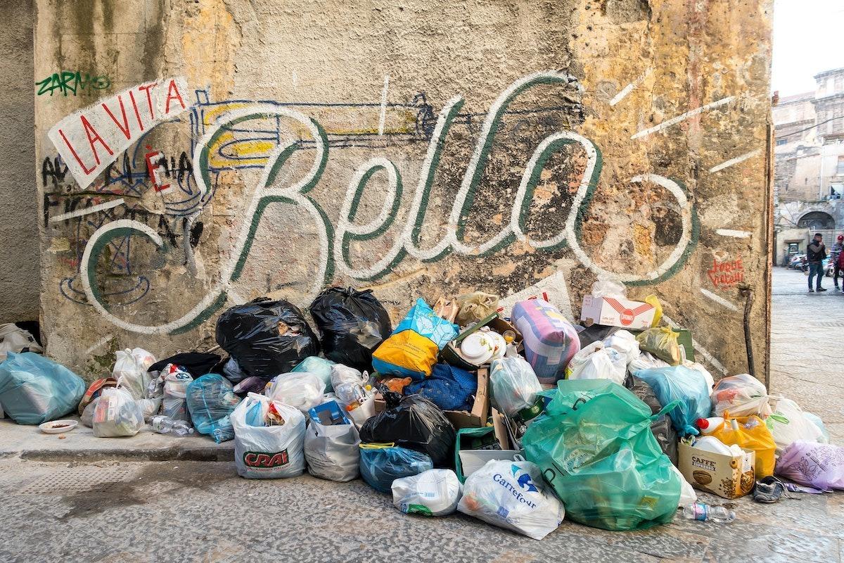 trash pile in Polermo Sicily