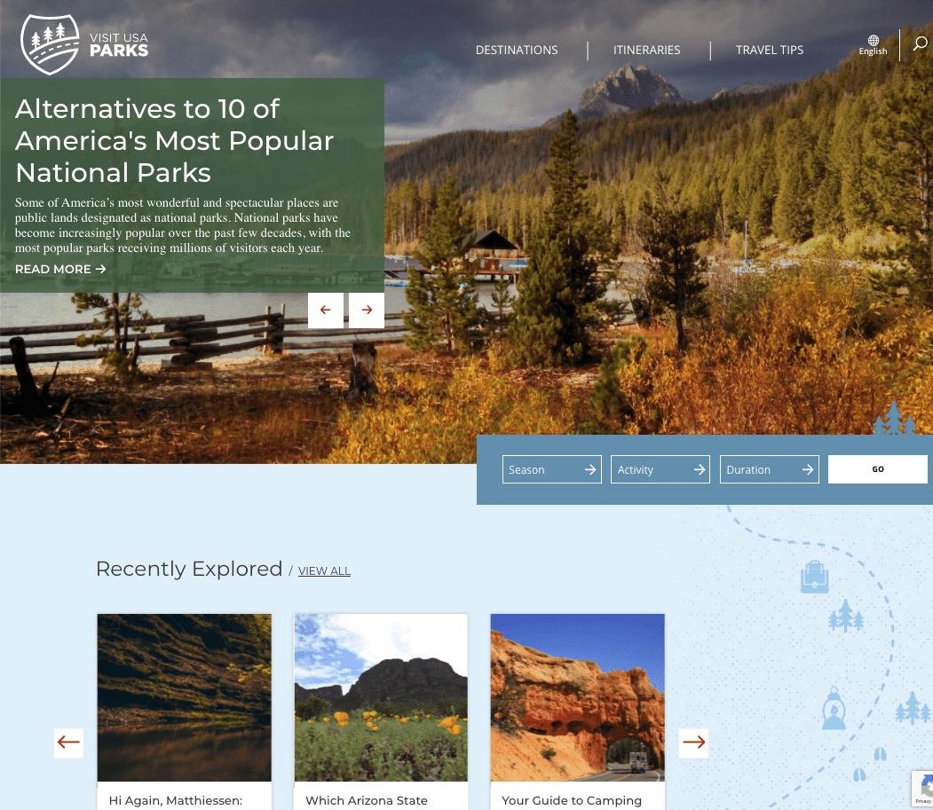 Visit USA Parks website homepage