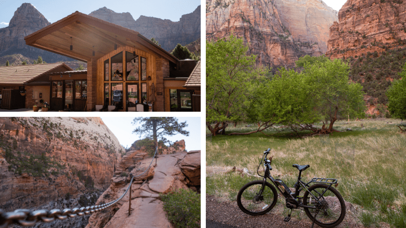 Collage of images of Zion National Park, including a bike and empty trails